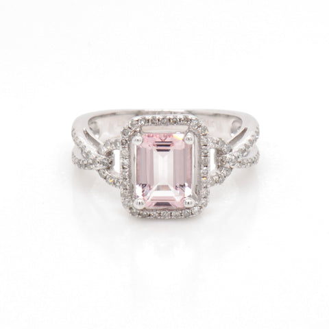 custom pink morganite and diamond ring by judith arnell jewelers in portland pdx