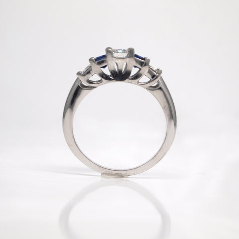 profile view of 3-stone engagement ring