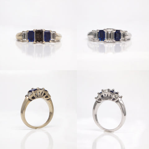 jewelry restoration diamond and sapphire engagement ring
