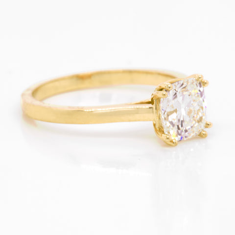 Custom Yellow Gold Radiant Diamond Solitaire Engagement Ring Portland Jewelry Judith Arnell Jewelers