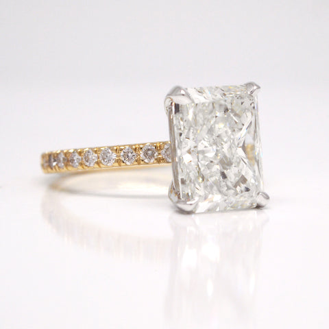 custom diamond engagement ring 4ct radiant