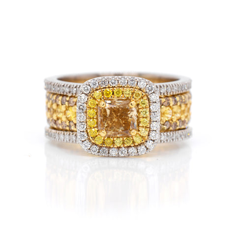 Custom yellow diamond double halo cushion engagement ring judith arnell portland pdx