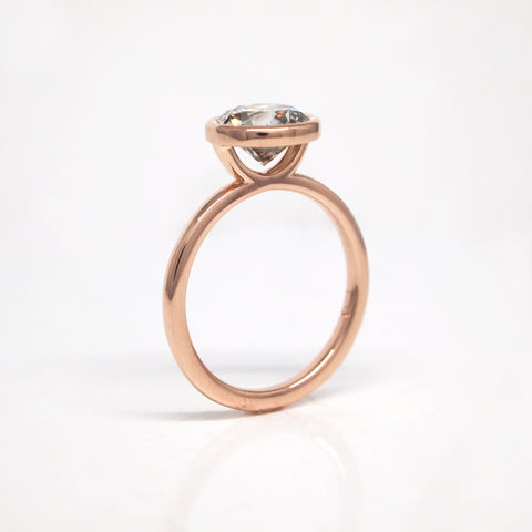 rose gold grey diamond engagement ring