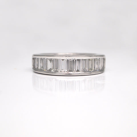 channel set emerald-cut diamond band ring