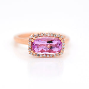 14K Rose Gold Rare Topaz And Diamond Halo Ring