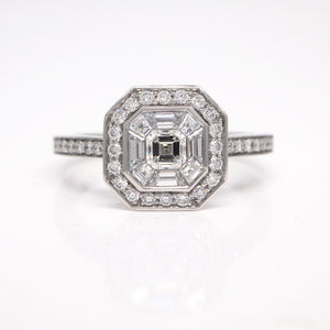 Platinum Composite Asscher Diamond Halo Engagement Ring