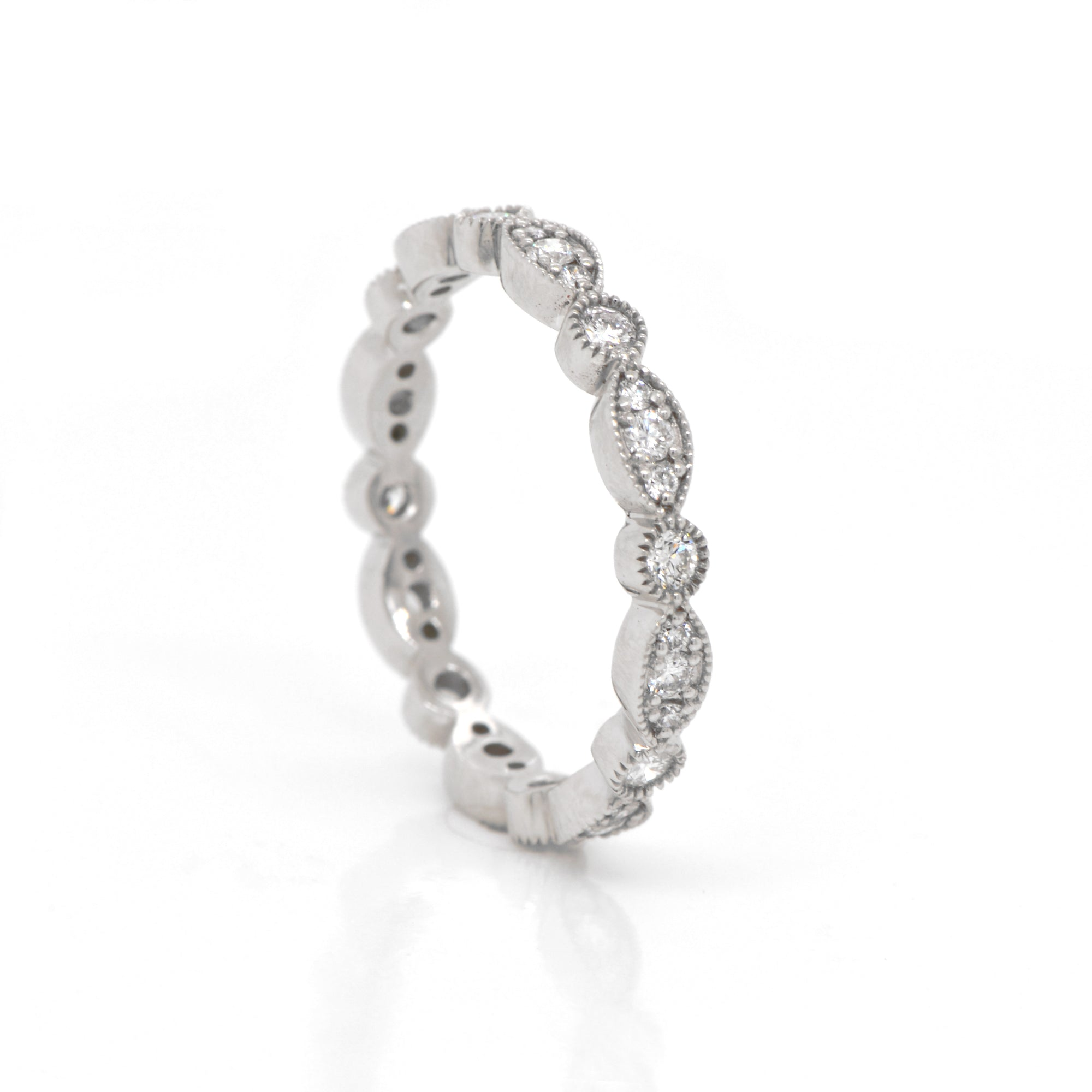 Platinum Marquis and Round Diamond Eternity Band