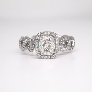 Platinum Aura Twist Diamond Engagement Ring