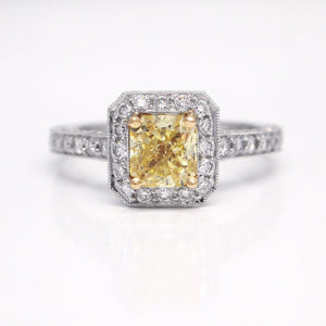 Platinum Intense Yellow Diamond Engagement Ring