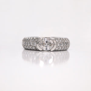 Platinum Contemporary Oval Diamond Engagement Ring