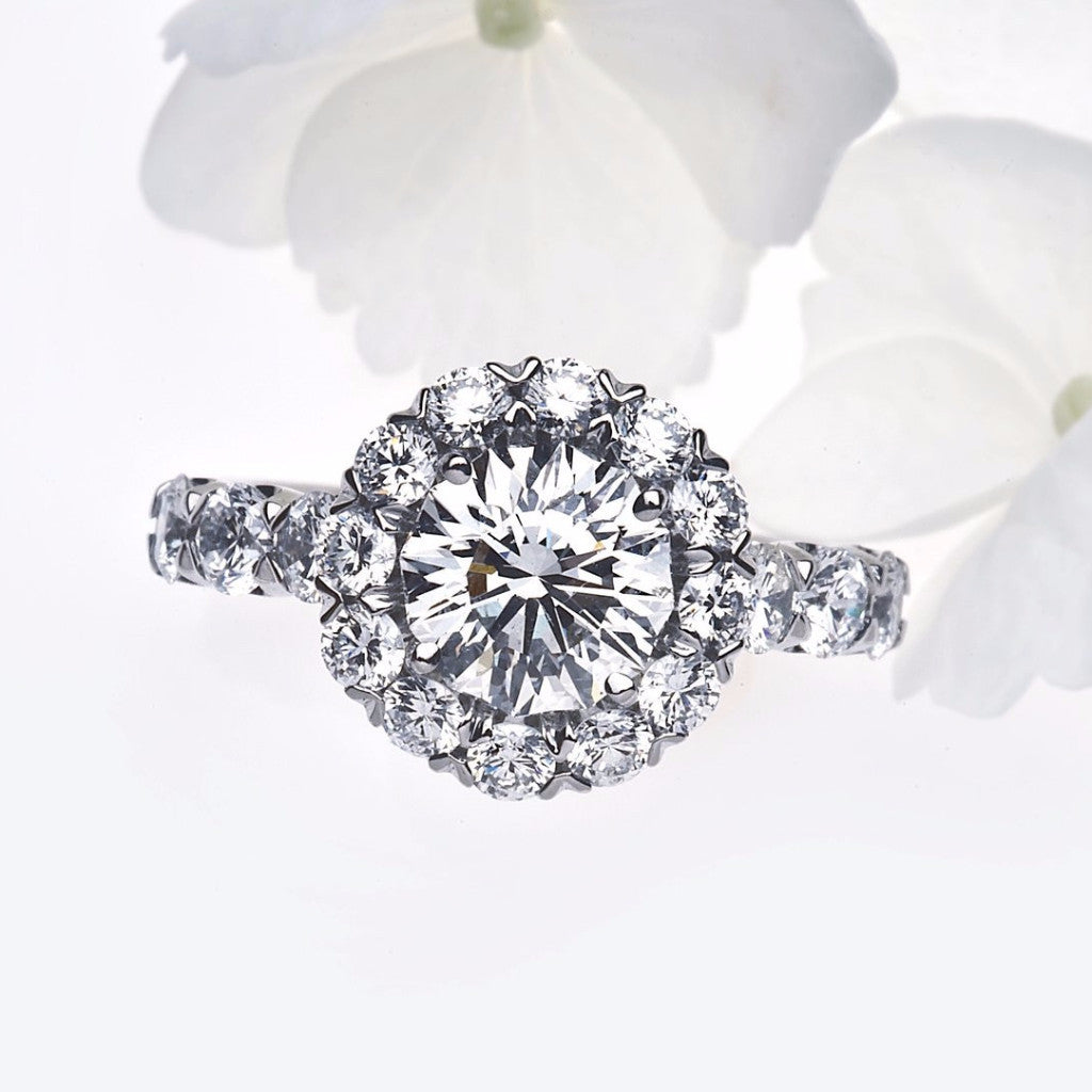 Christopher Designs platinum halo style round crisscut diamond engagement ring