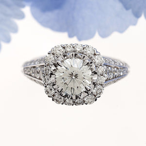 Christopher Designs white gold engagement ring with round crisscut and pave set diamonds