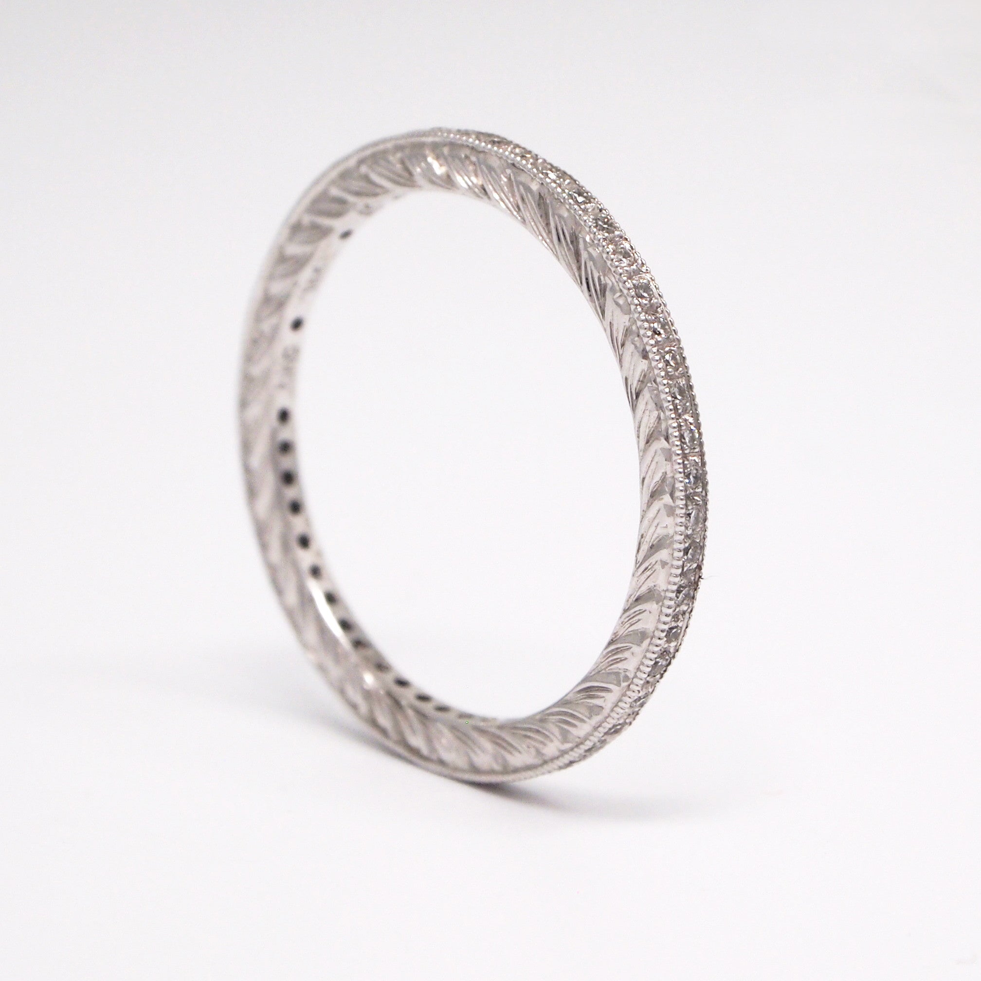 Hand Engraved 18K White Gold Diamond Eternity Wedding Band With Diamonds Weighing A Total Of