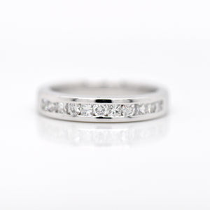 Platinum Round And Princess Diamond Wedding Band