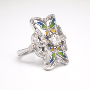 "Art Nouveau Style 18K White Gold ""Arctic Collection"" Enamel And Diamond Ring"