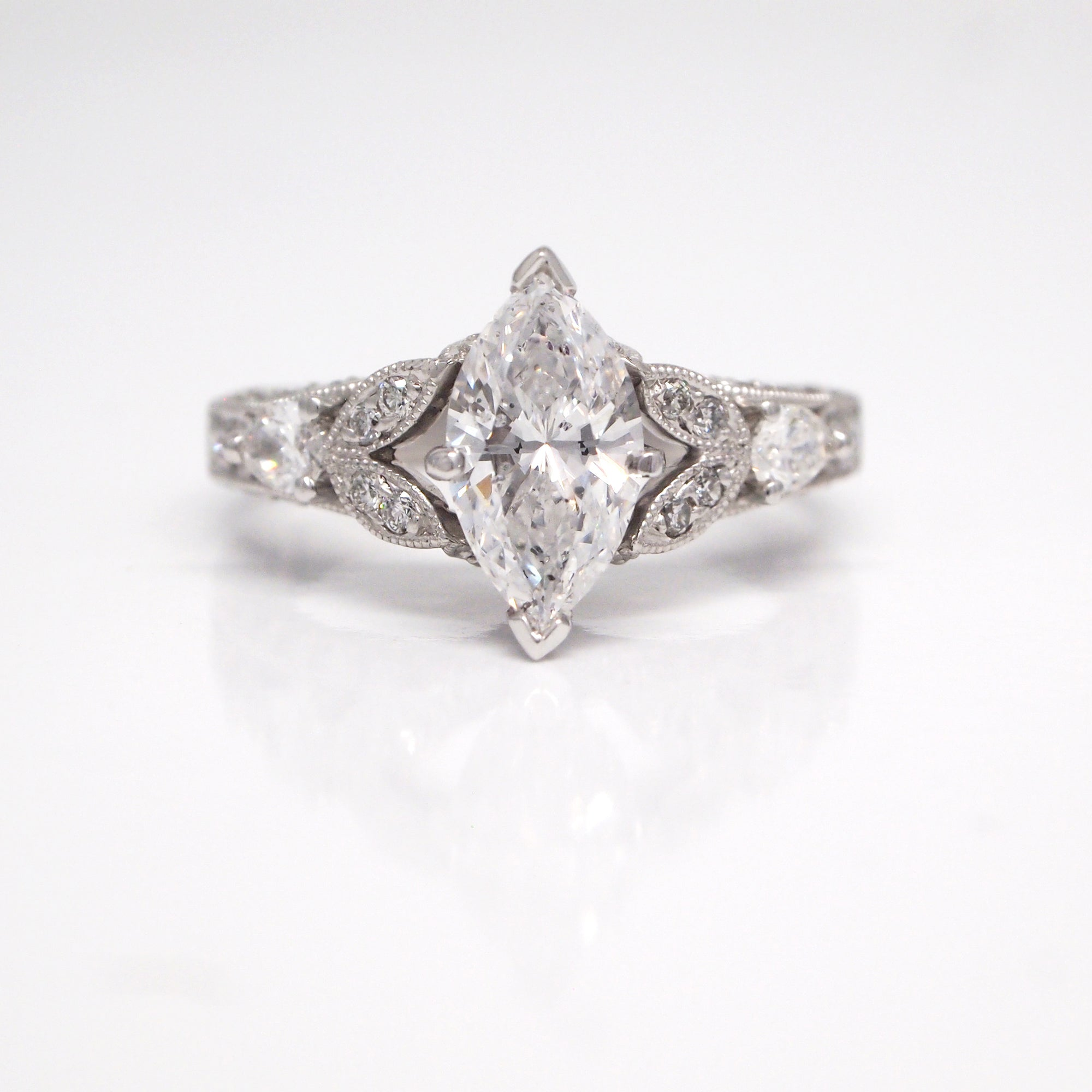 Art Deco Style 18K White Gold Diamond Engagement Ring