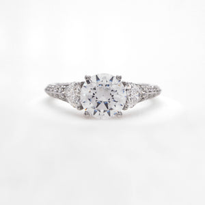 Platinum 3-Stone Heart Diamond Ring
