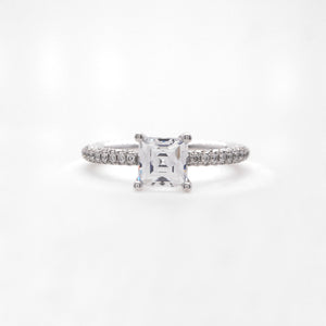 18K White Gold Rounded Pave Diamond Engagement Ring