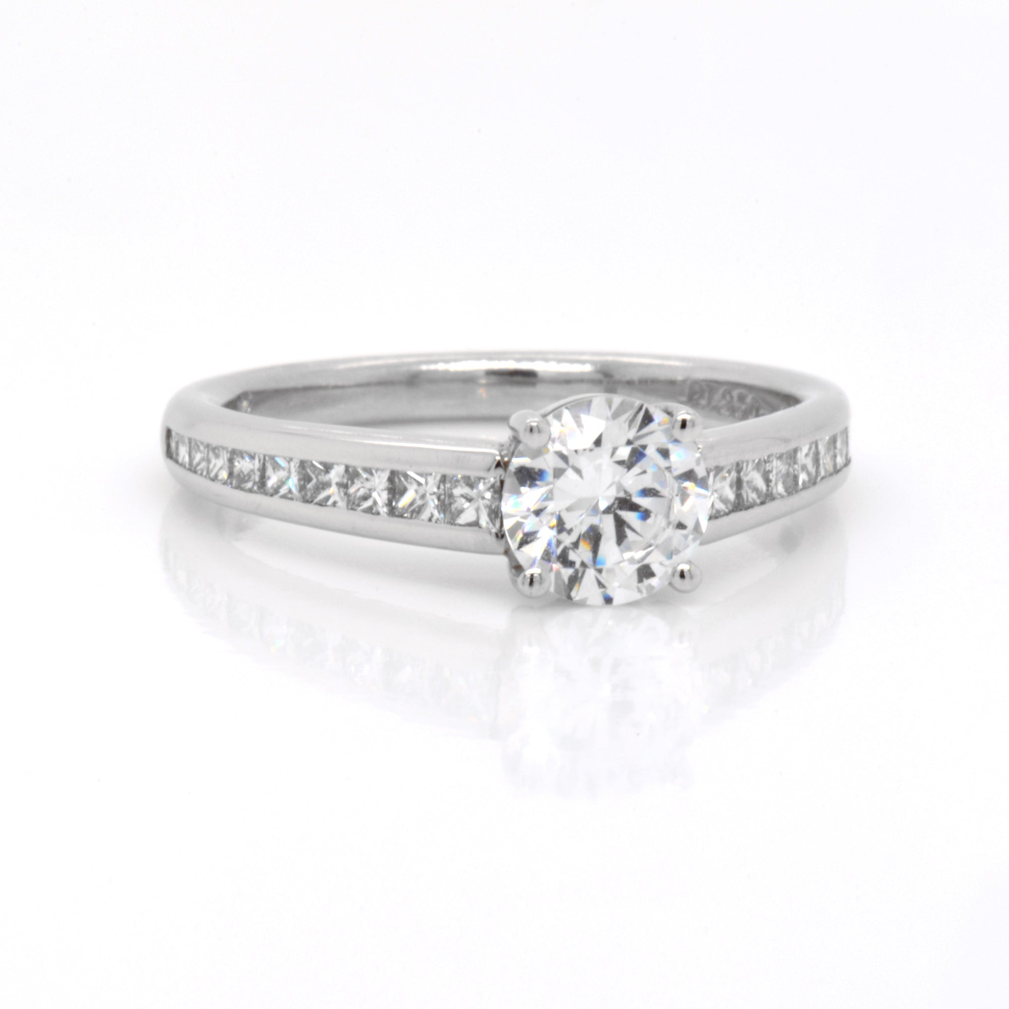 Platinum Princess Channel Diamond Engagement Ring