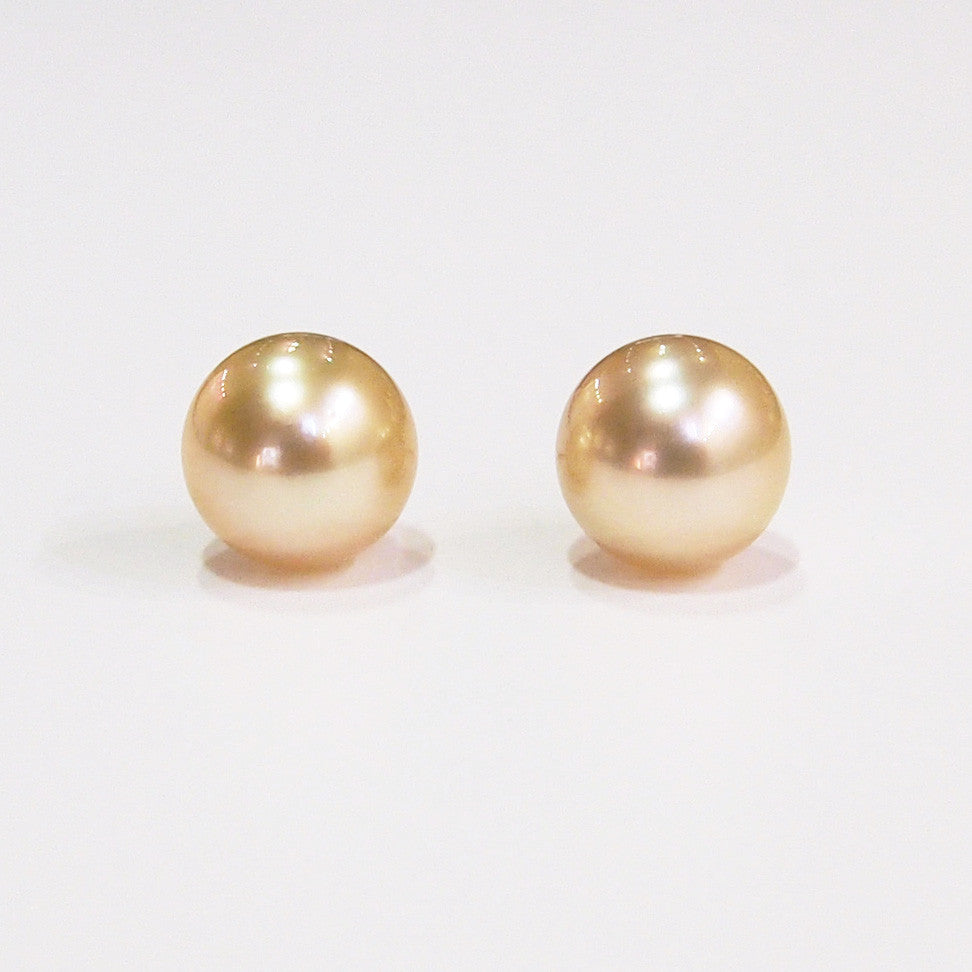 9-10 mm golden south sea pearl earrings on 14K yellow gold posts
