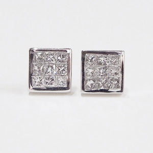 14K white gold invisible-set diamond earrings with 18 princess-cut diamonds