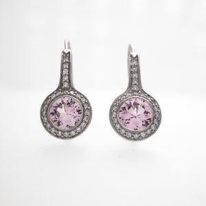 Platinum Pink Sapphire And Diamond Earrings