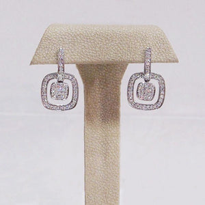 "Frederic Sage 18K white gold ""Grande LG"" double cushion earrings with 102 round diamonds"