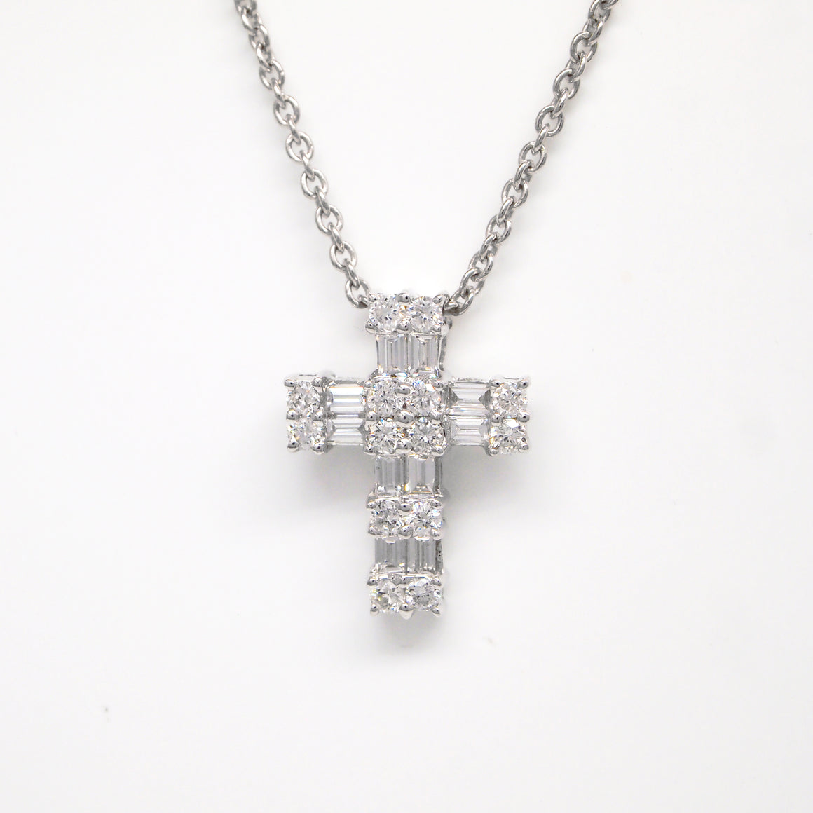 18K White Gold Round And Baguette Diamond Cross Pendant