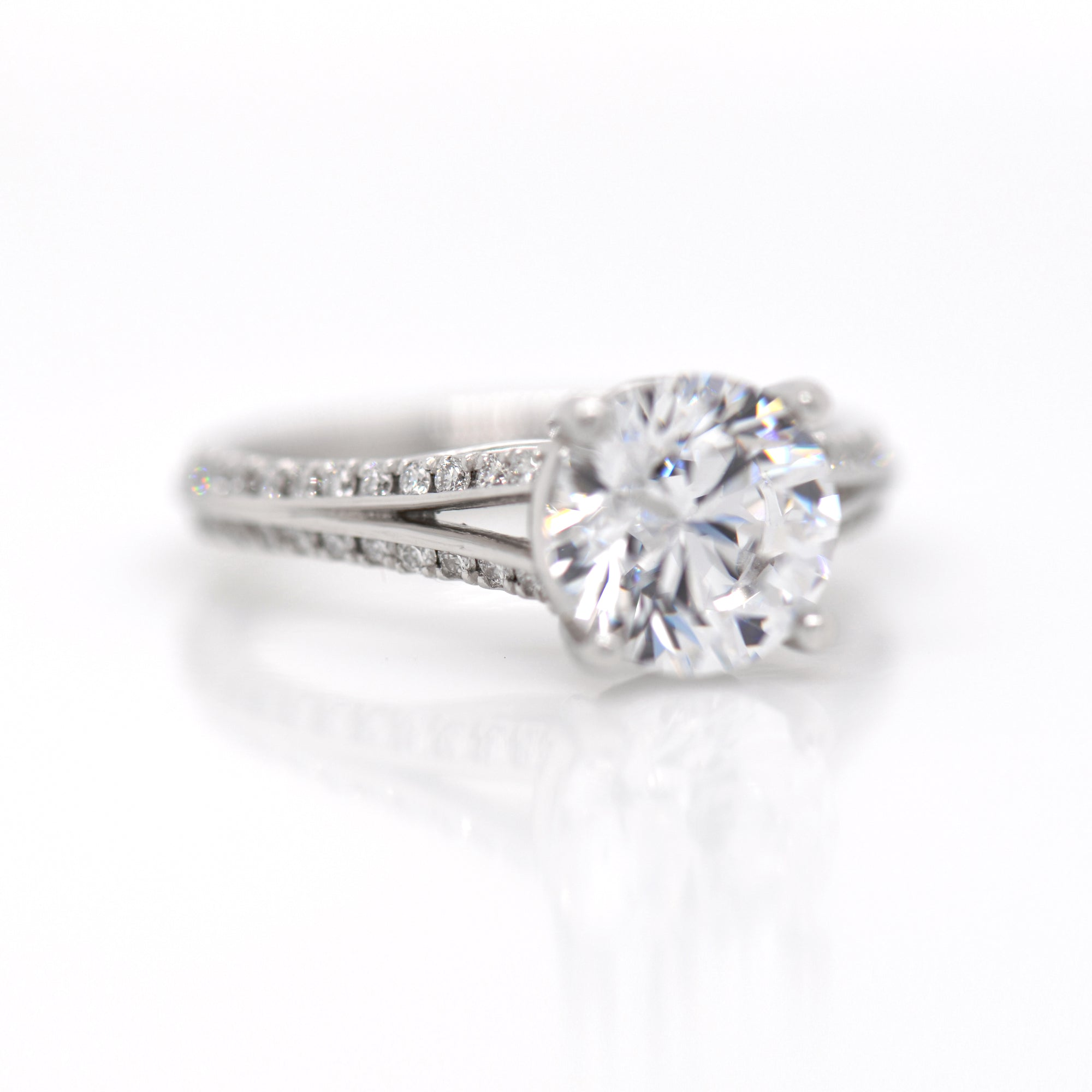 Platinum Split Shank Diamond Engagement Ring