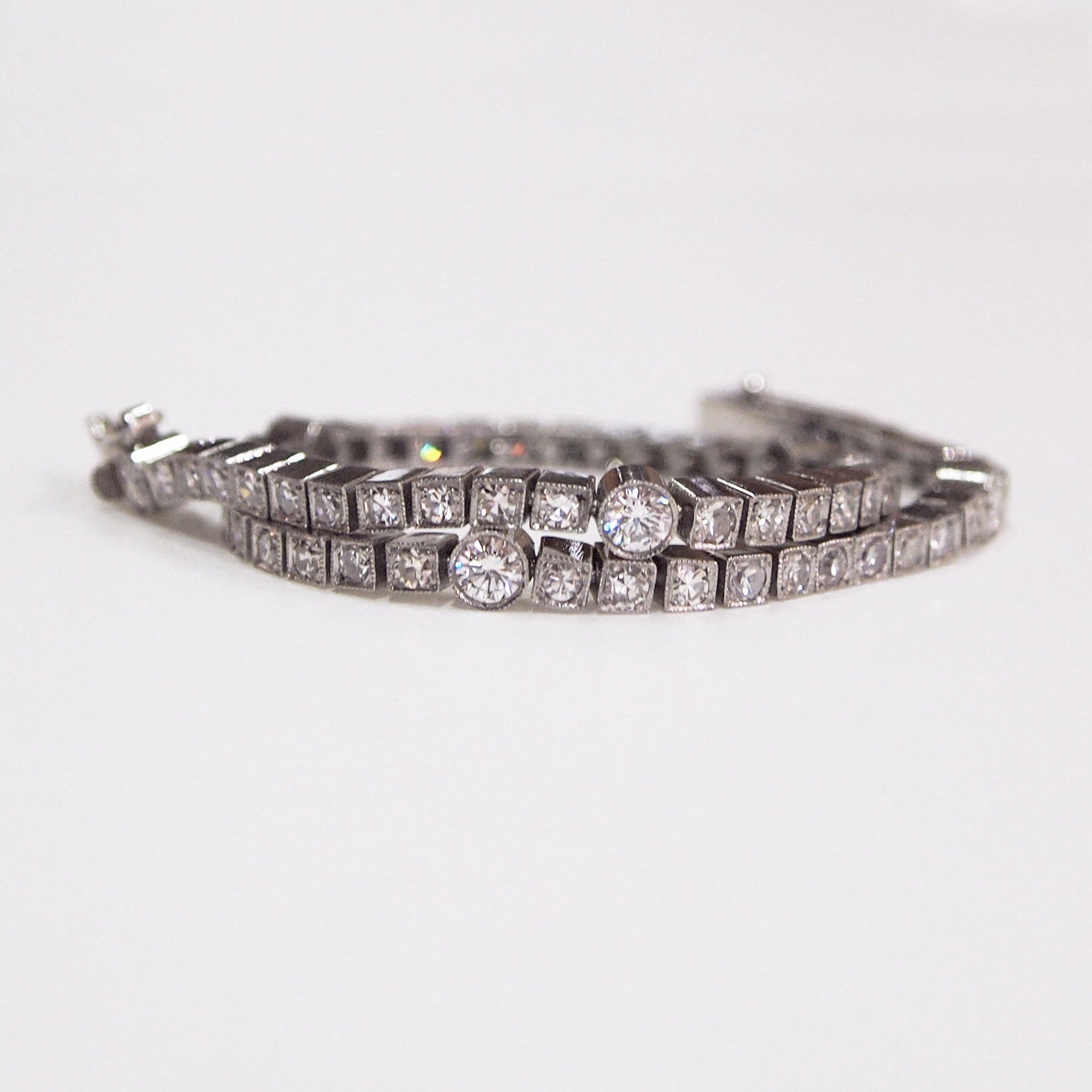 Antique Platinum Diamond Tennis Bracelet