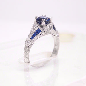 Art Deco Style Platinum Ceylon Sapphire And Diamond Engagement Ring