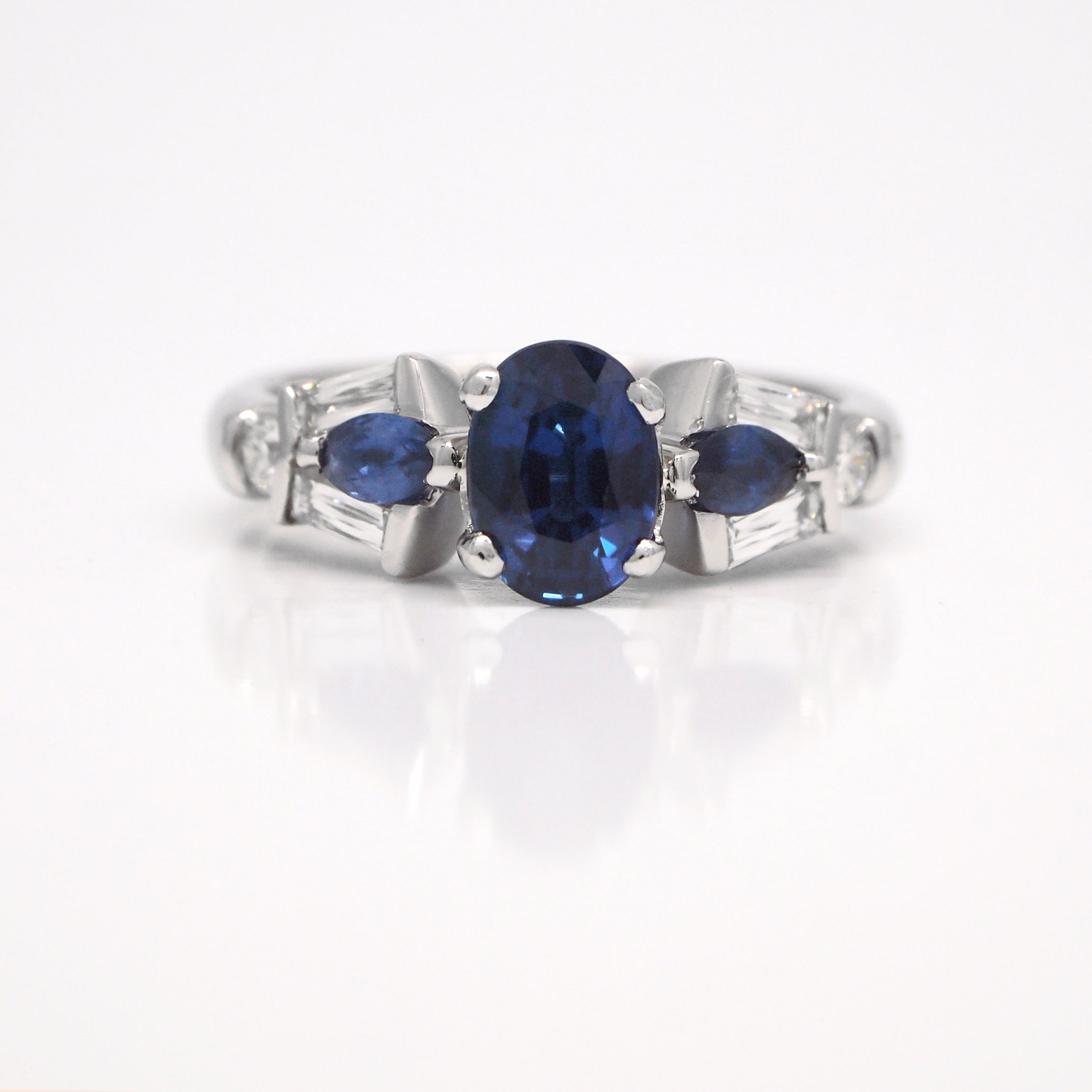baguette oval jewelry tapered diamonds and non platinum sapphire branded ring