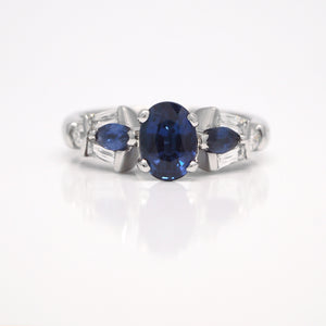 Platinum Sapphire And CrissCut Diamond Engagement Ring