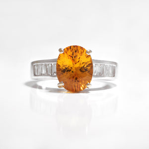 18K White Gold Orange Sapphire And Diamond Ring