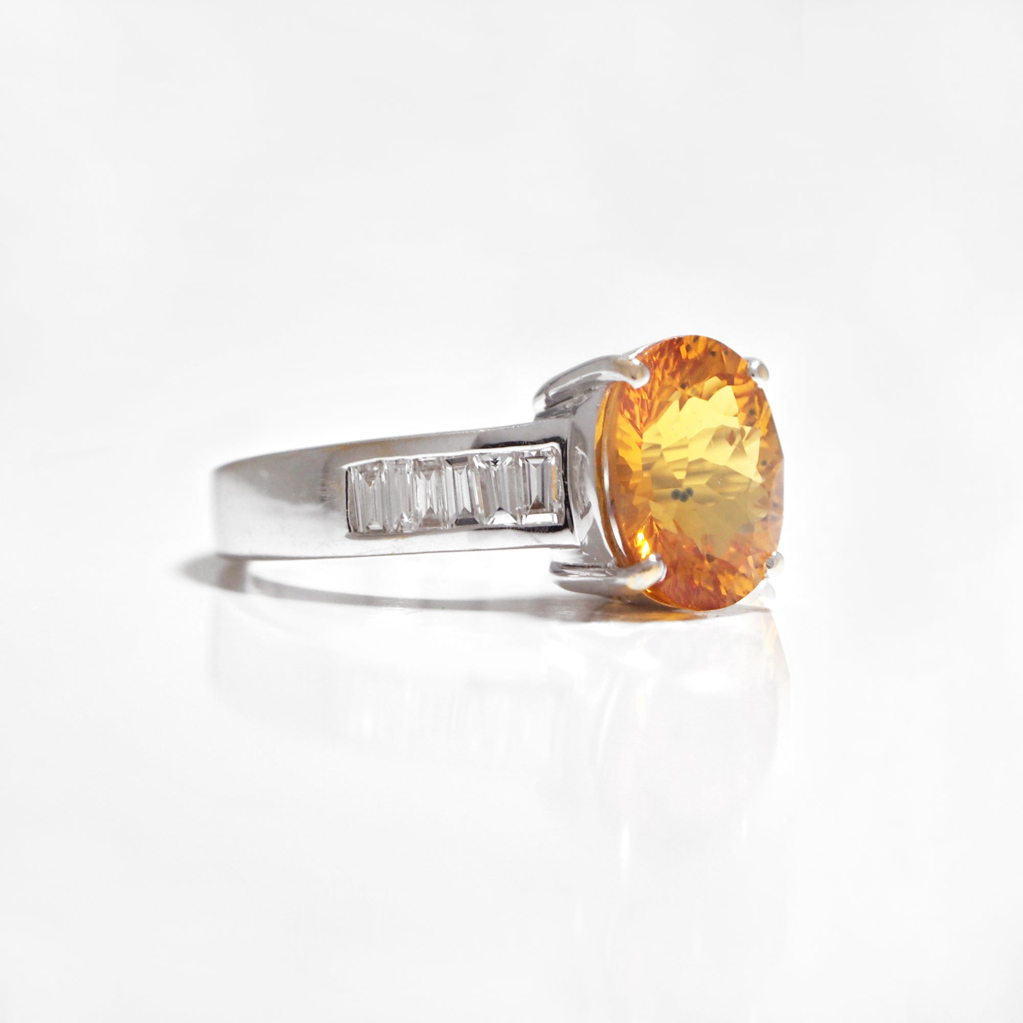 18K Orange Sapphire And Diamond Ring