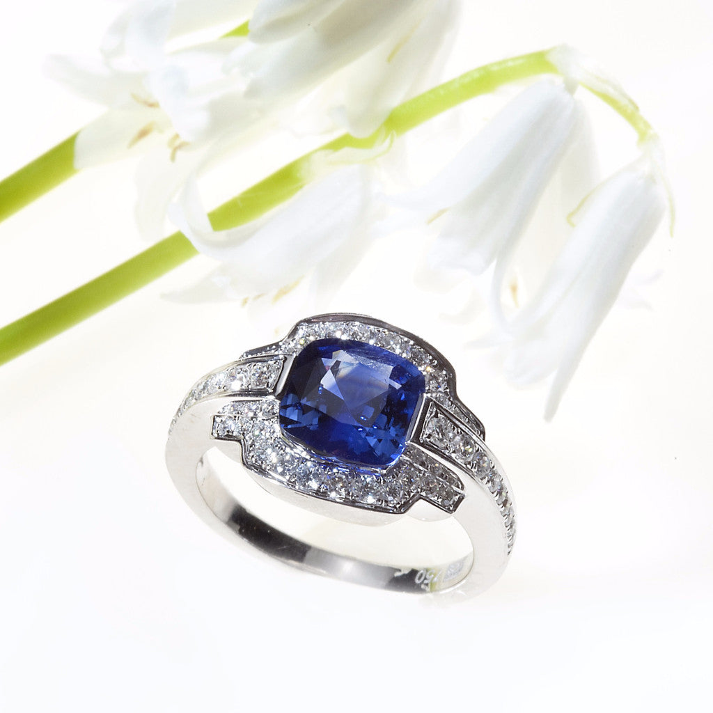 One Of A Kind White Gold Sapphire and Diamond Ring