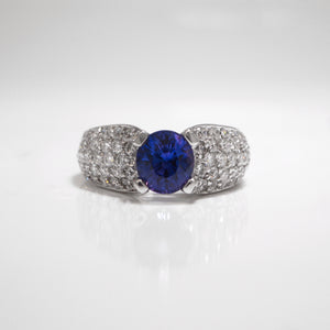 18K White Gold Color Change Sapphire And Diamond Ring