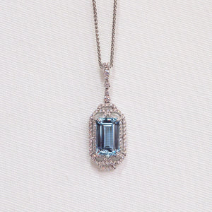 One Of A Kind 18K White Gold Aquamarine and Diamond Pendant