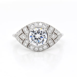 18K White Gold Art-Deco Style Diamond Engagement Ring
