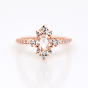18K Rose Gold Rose-Cut Diamond Engagement Ring