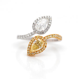 14K Two-Tone Fancy Pear Diamond Twist Ring