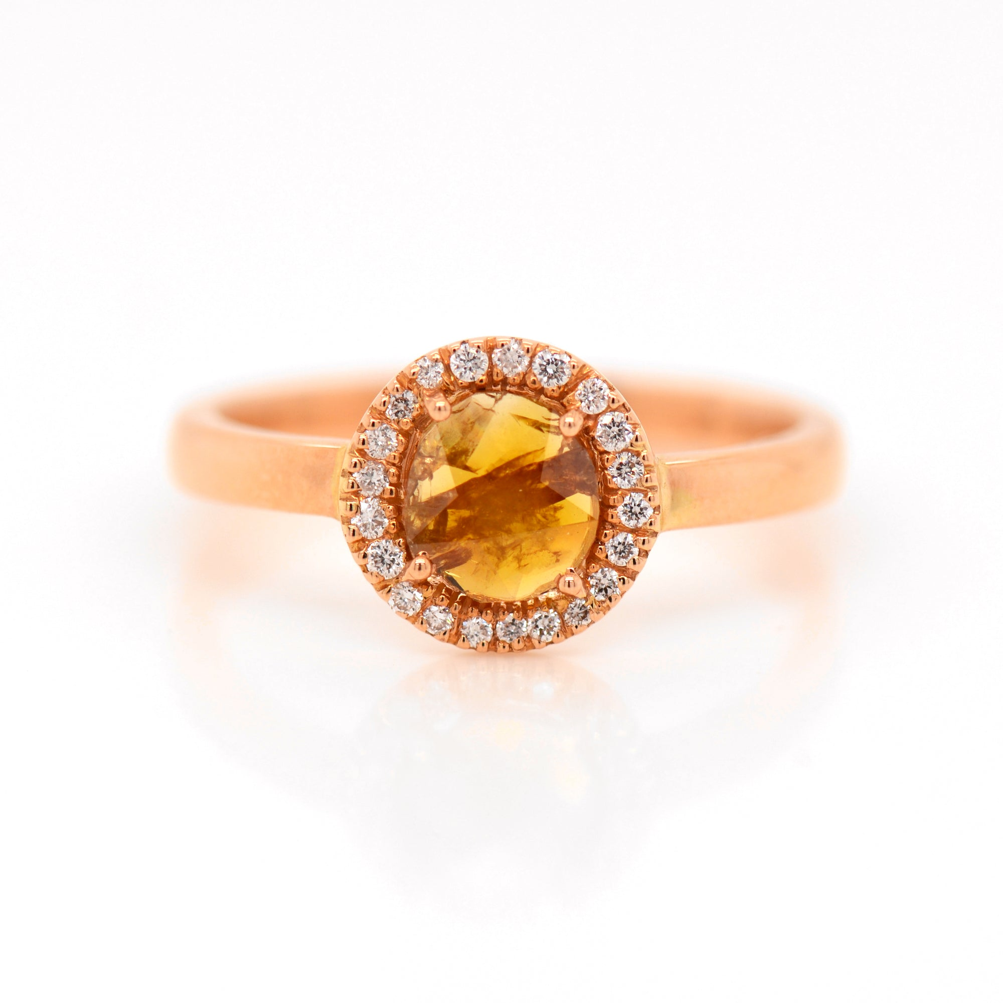14K Rose Gold Natural Fancy Cognac Diamond Ring