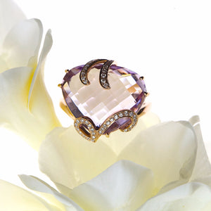 Rose Gold Pink Purple Fancy Cut Triangular Amethyst and Diamond Ring