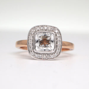 18K Pink and White Gold Topaz Engagement Ring