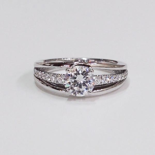 14K white gold semi-mount engagement ring with 24 side diamonds