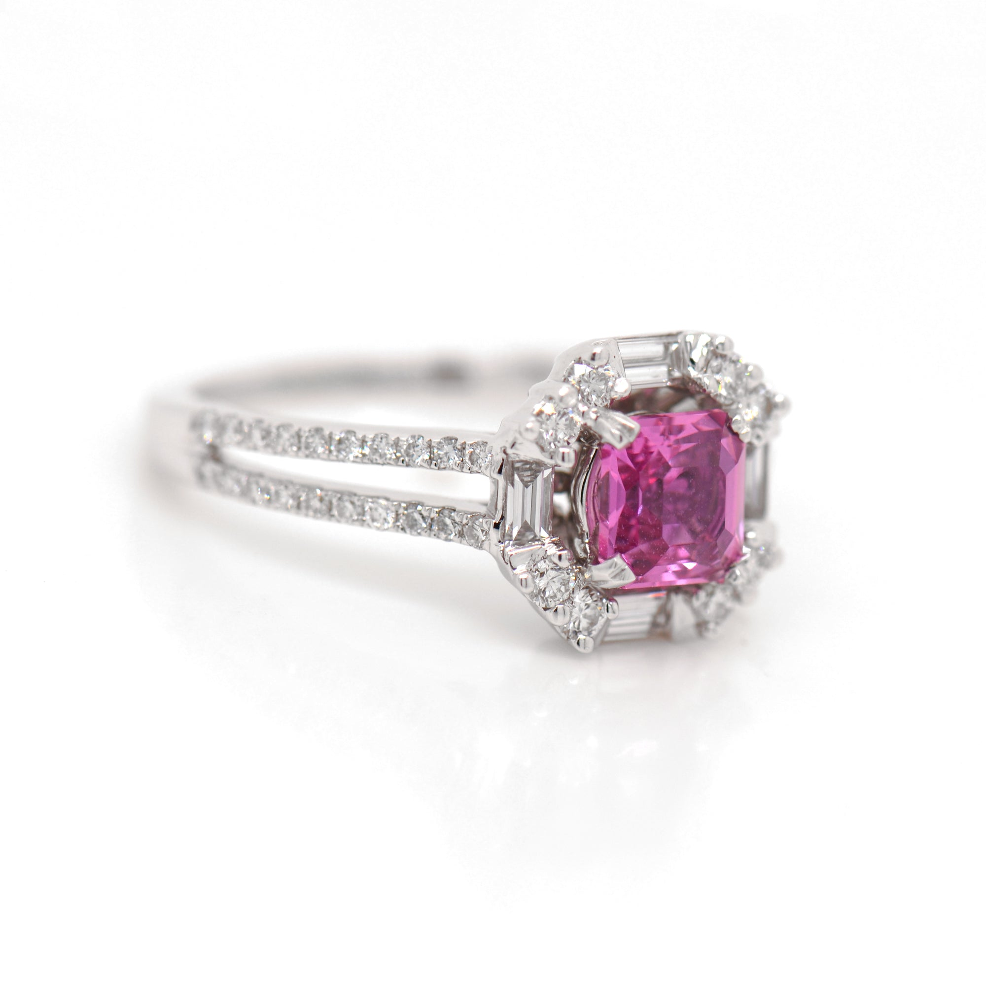 18K White Gold Vivid Pink Sapphire And Diamond Ring