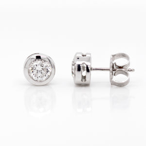 18K White Gold 1-Carat Bezel Diamond Studs