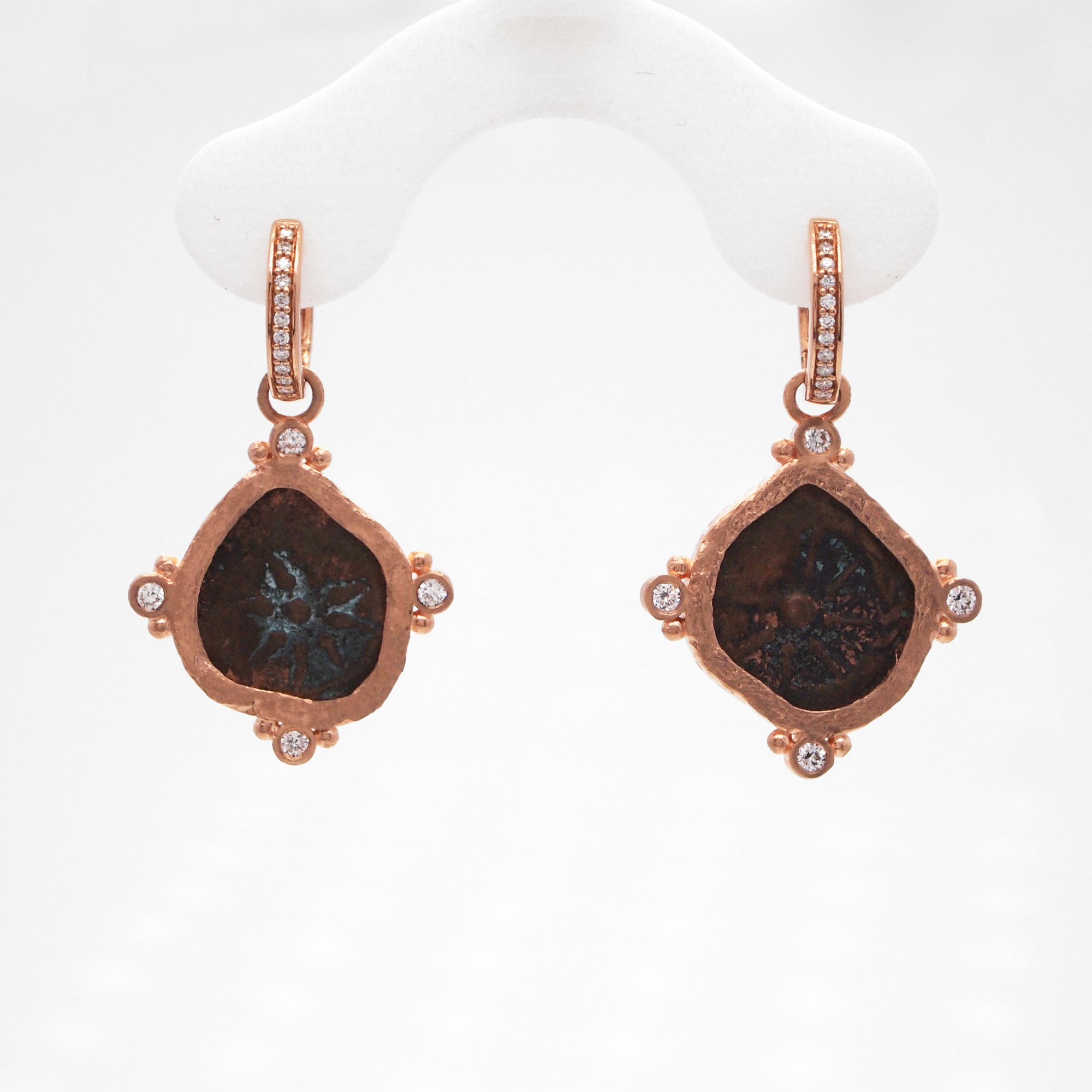 14K Rose Gold Widow's Mite And Diamond Earrings