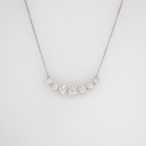 14K White Gold Diamond Halos Necklace