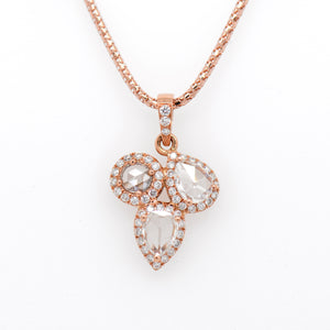 14K Rose Gold Rose-Cut Diamond Halo Necklace
